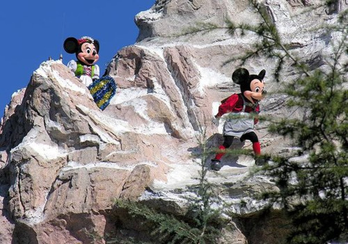 Being on top of the Matterhorn is not as fun or as safe as Mickey and Minnie make it look.