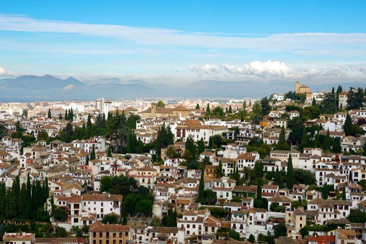View of Granada and the Sierra Nevada Mountains from the Alhambra.