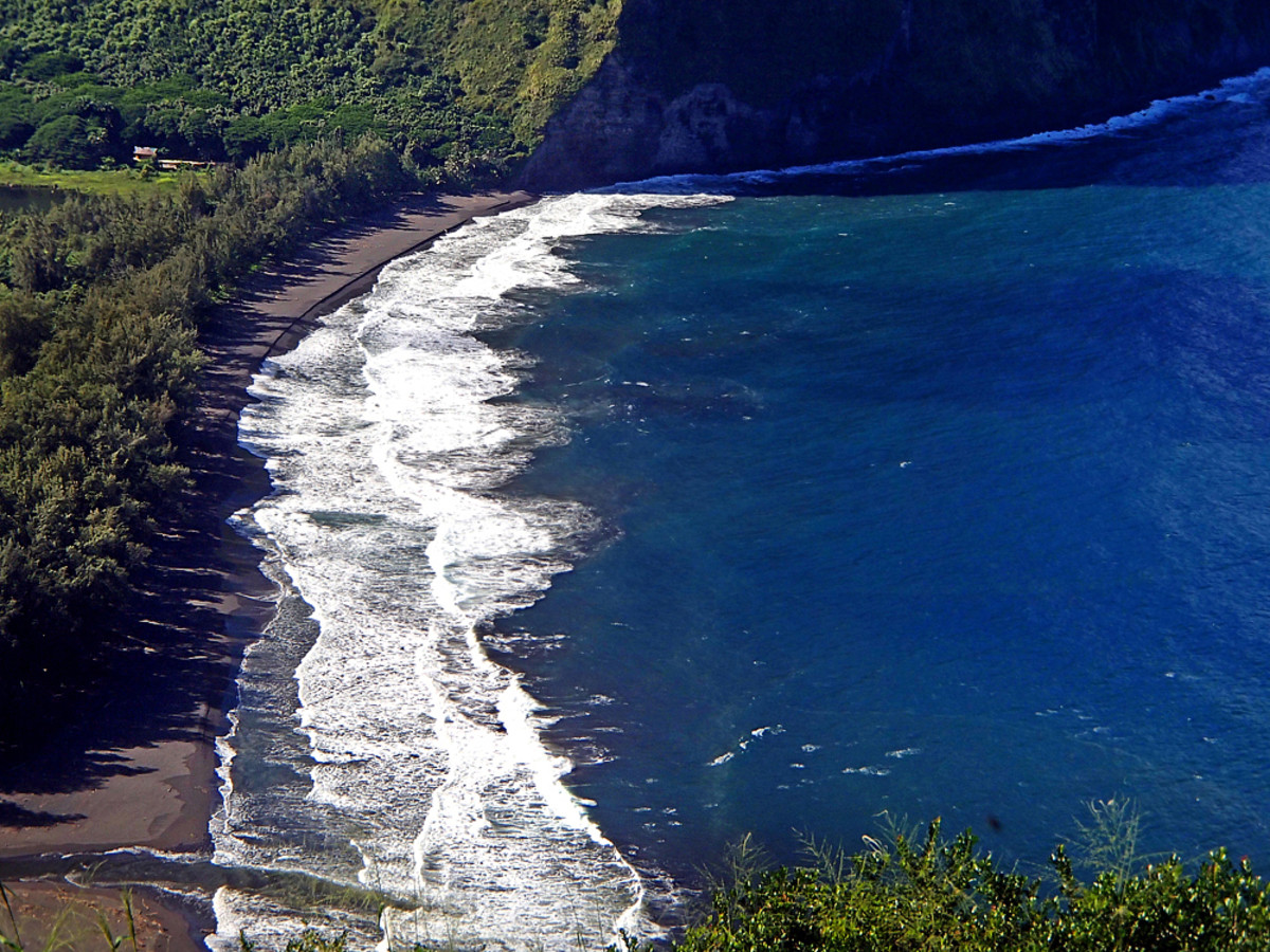 Black sand beach at the mouth of Waipi'o Valley.