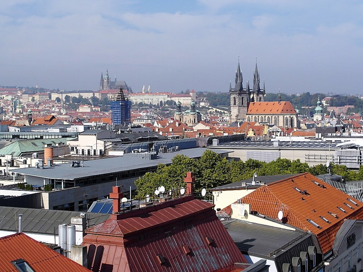 Towards Prague's Old Town and the Castle.