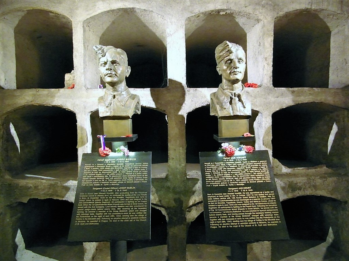 Memorials to Josef Bublik and Jan Hruby.