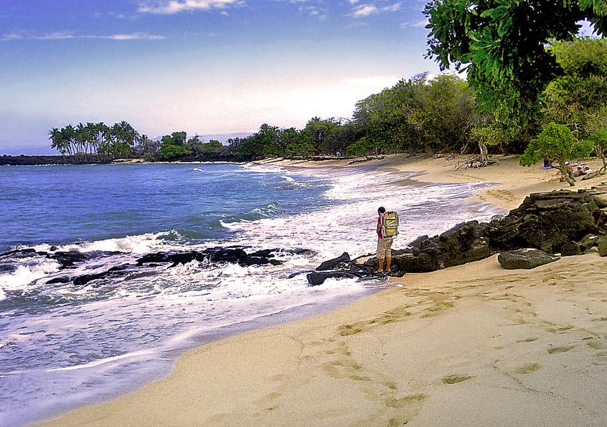 Beautiful sands, surf and shade at Mahai'ula Beach.