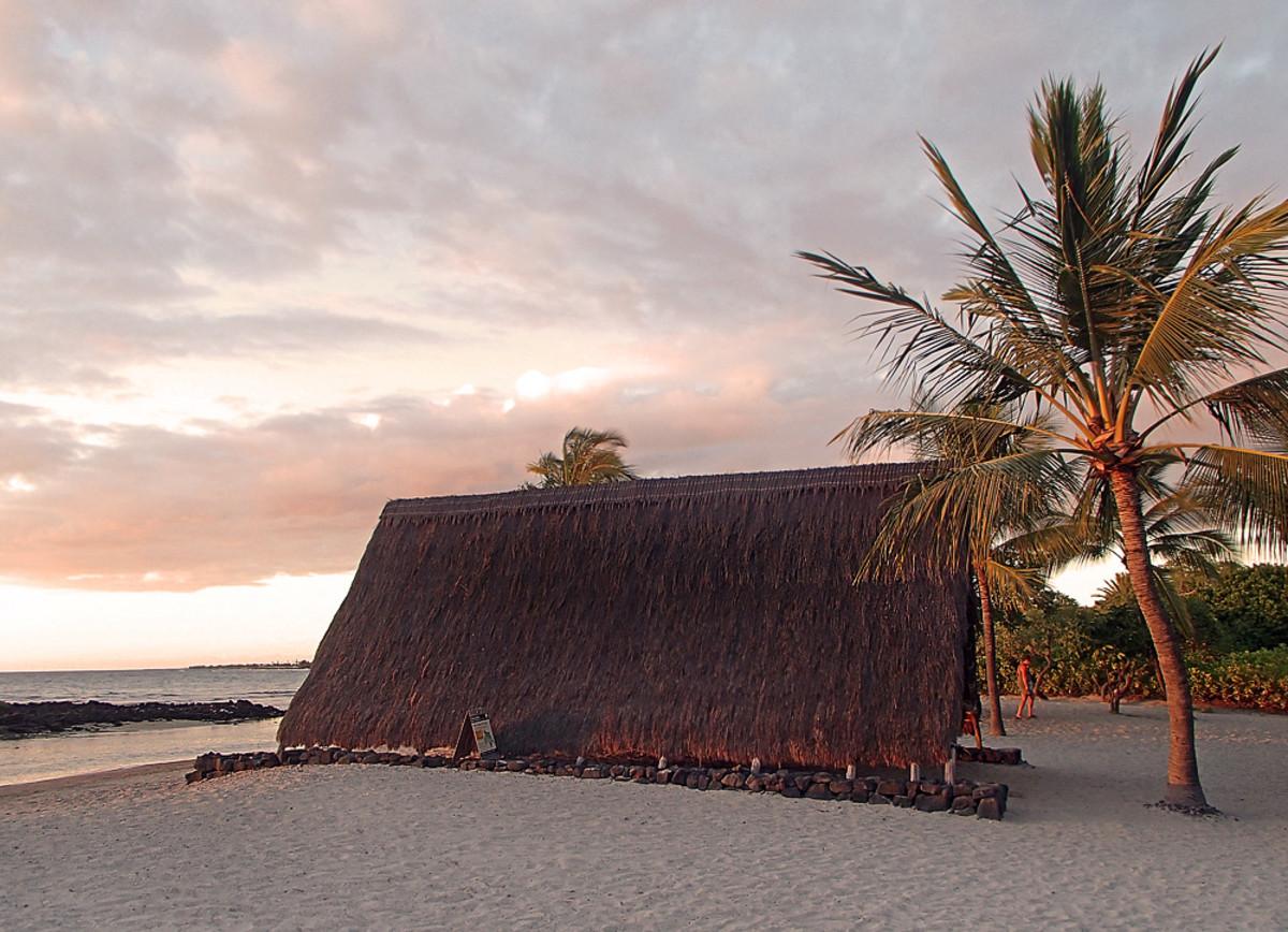 Traditional Hawaiian canoe hale at Honokohau Beach.