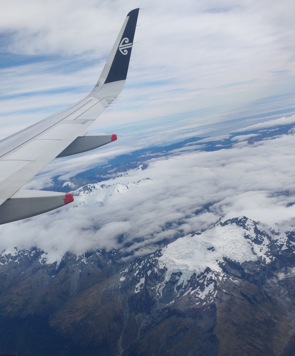 A view of the mountains from the plane near Queenstown, New Zealand.
