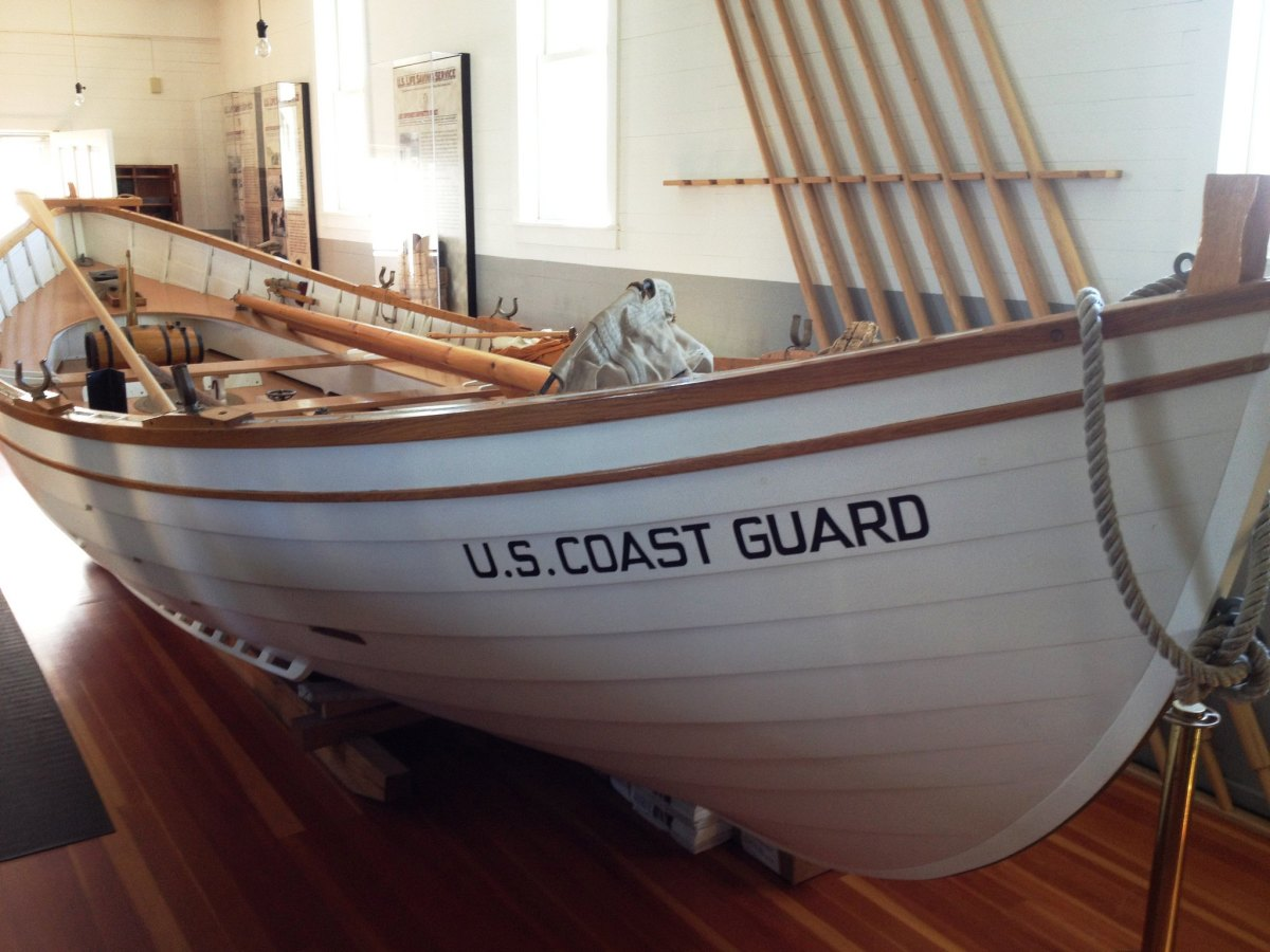 Coast Guard life saving boat at the Great Lakes Shipwreck Museum in Whitefish Point, Michigan.