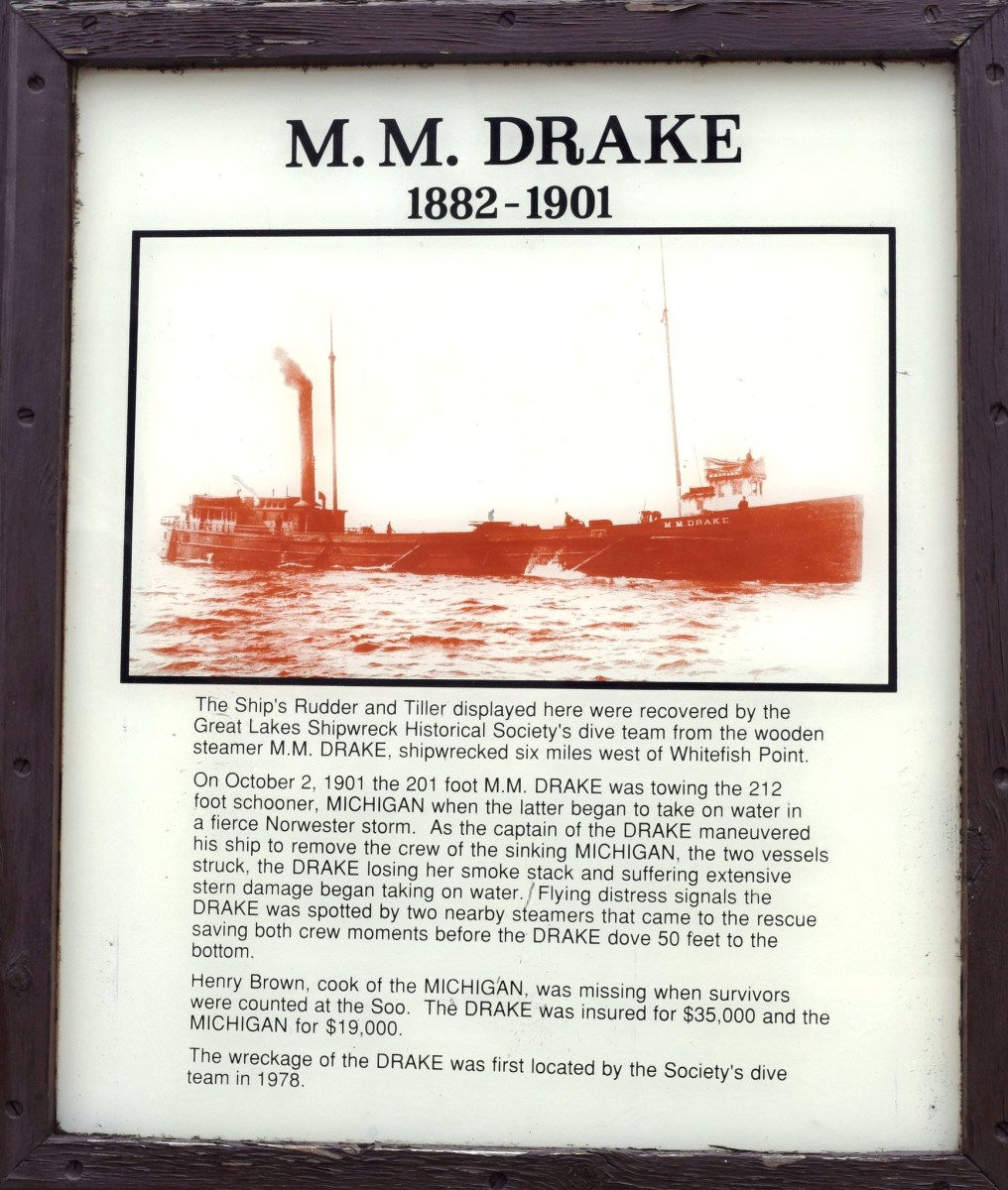 M. M. Drake display at the Great Lakes Shipwreck Museum in Whitefish Point, Michigan.