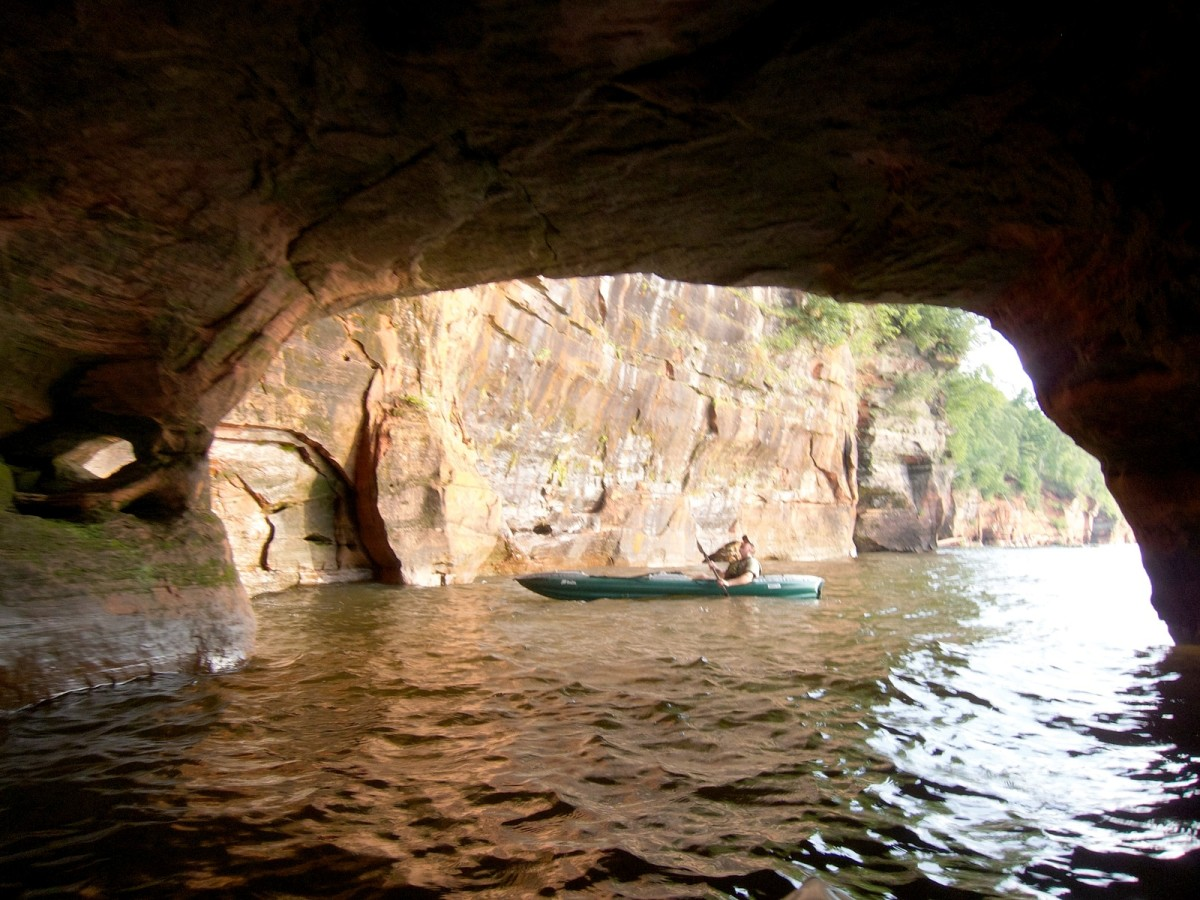 Sea kayaking along the Apostle Islands National Lakeshore, Wisconsin
