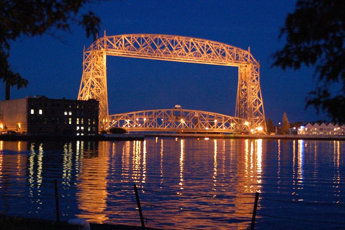 Duluth Aerial Life Bridge at night - Duluth, Minnesota