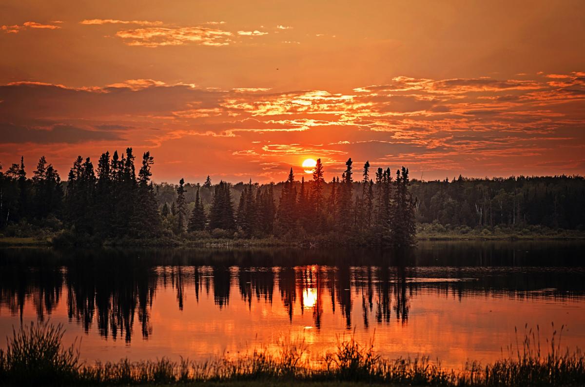 Sunset near Sleeping Giant Provincial Park, Ontario, Canada
