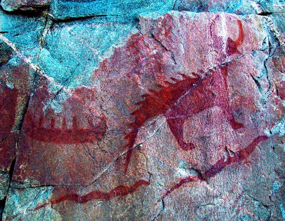 Agawa Rock pictograph  at Lake Superior Provincial Park in Ontario, Canada