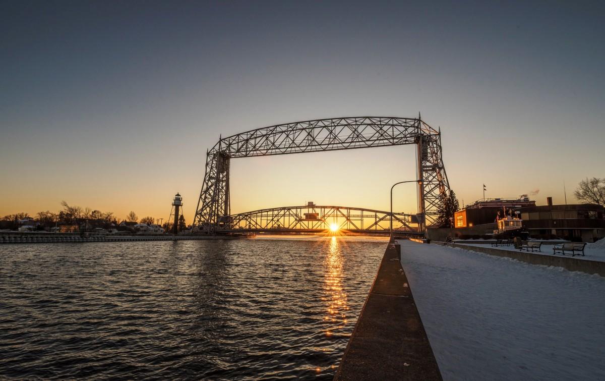 Duluth Aerial Life Bridge at sunset - Duluth, Minnesota