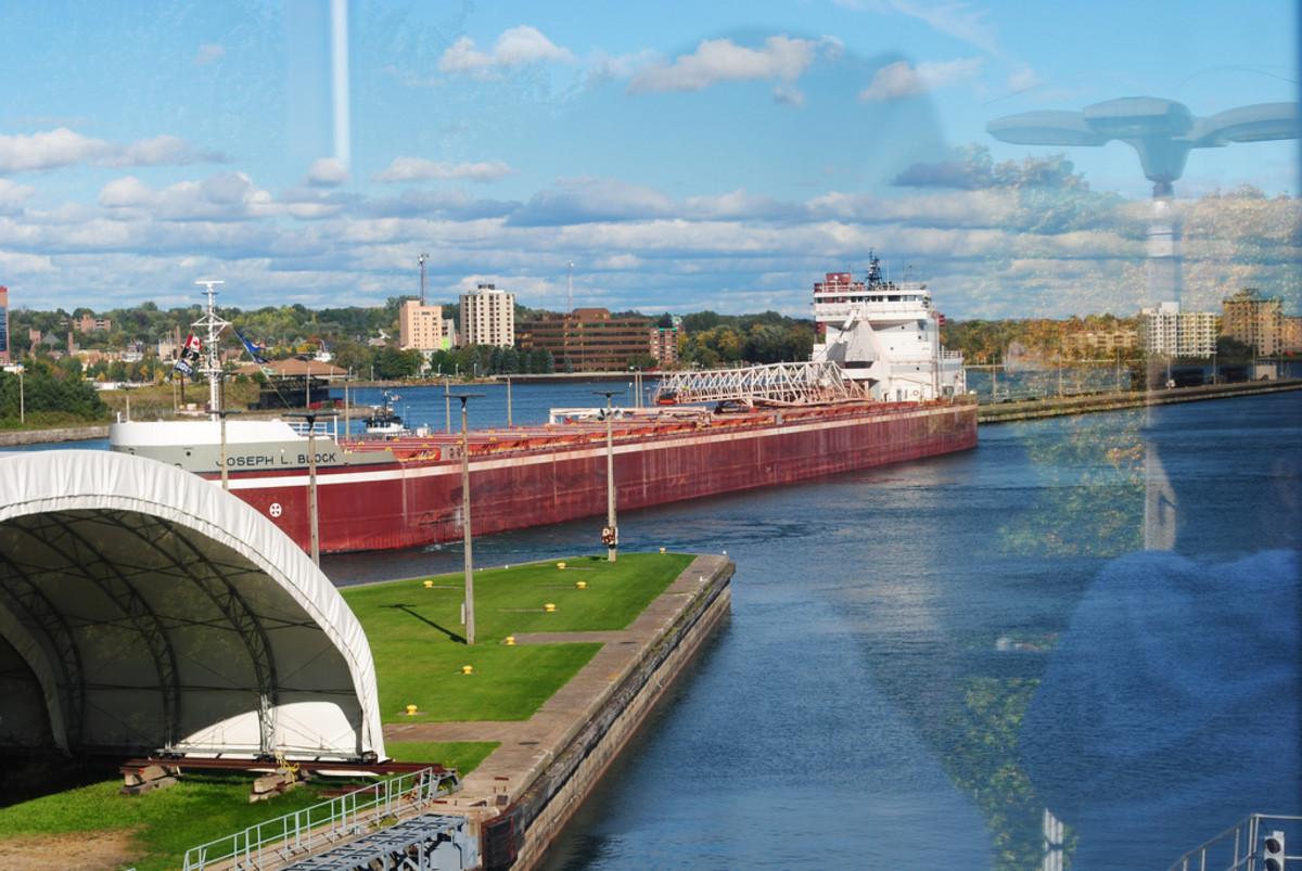 Ship passing through the Soo Locks - Sault Ste. Marie, Michigan