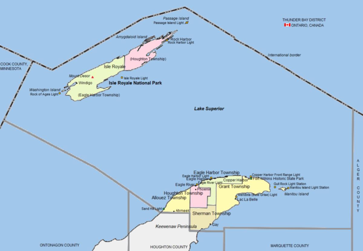 Map of the Keweenaw Peninsula in Michigan