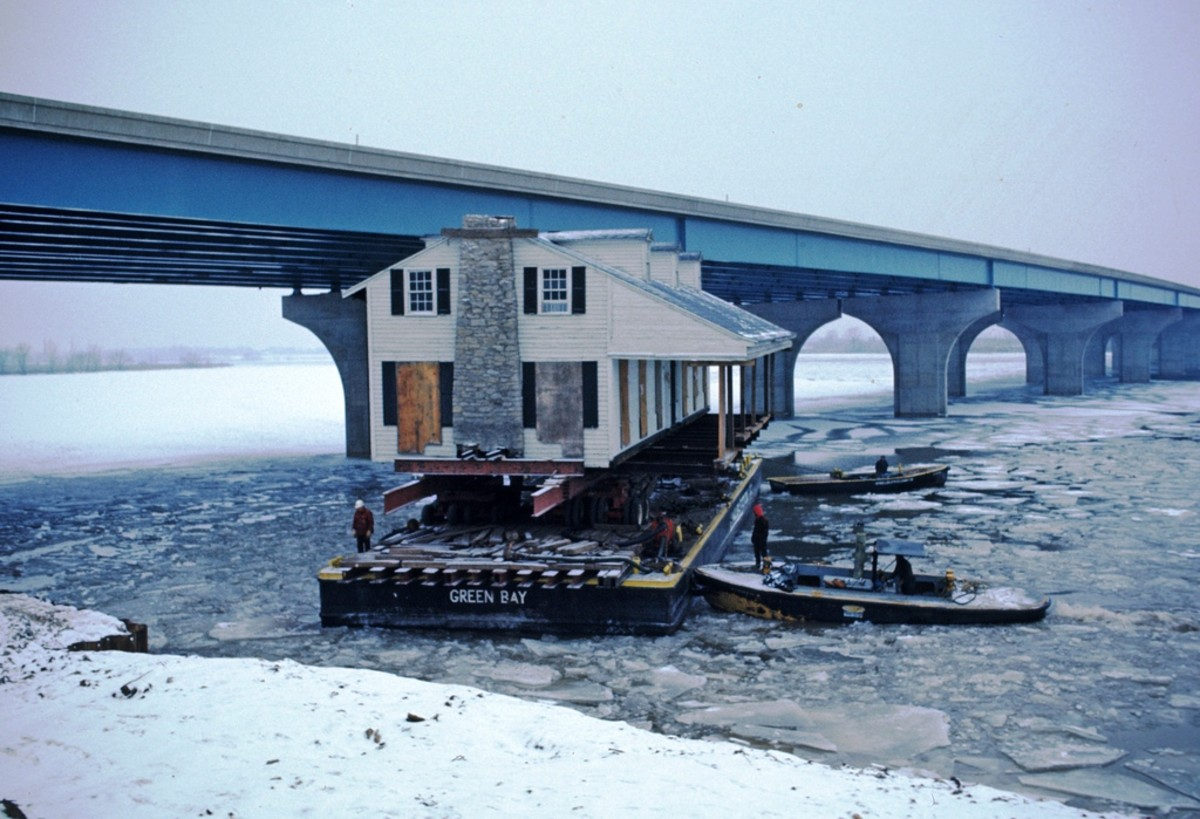 Fort Howard Hospital was moved by barge up the Fox River in December 1975 to Heritage Hill State Park, Green Bay, Wisconsin.