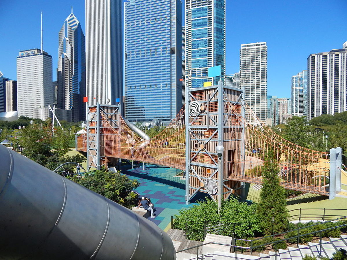 Slide Crater within the Play Garden of Maggie Daley Park in Chicago, Illinois.