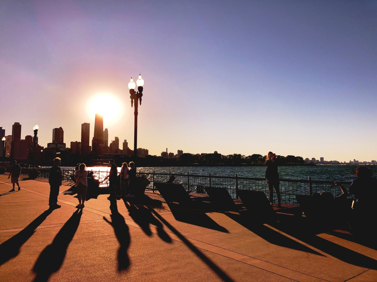 Navy Pier at sunset in Chicago, Illinois