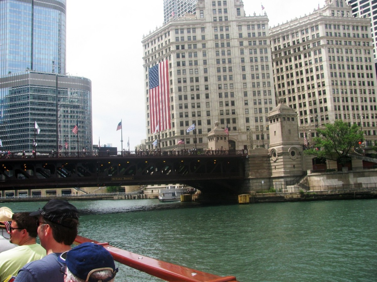 Chicago Architectural River Cruise at the Michigan Ave. Bridge near the Wrigley Building in Chicago, Illinois