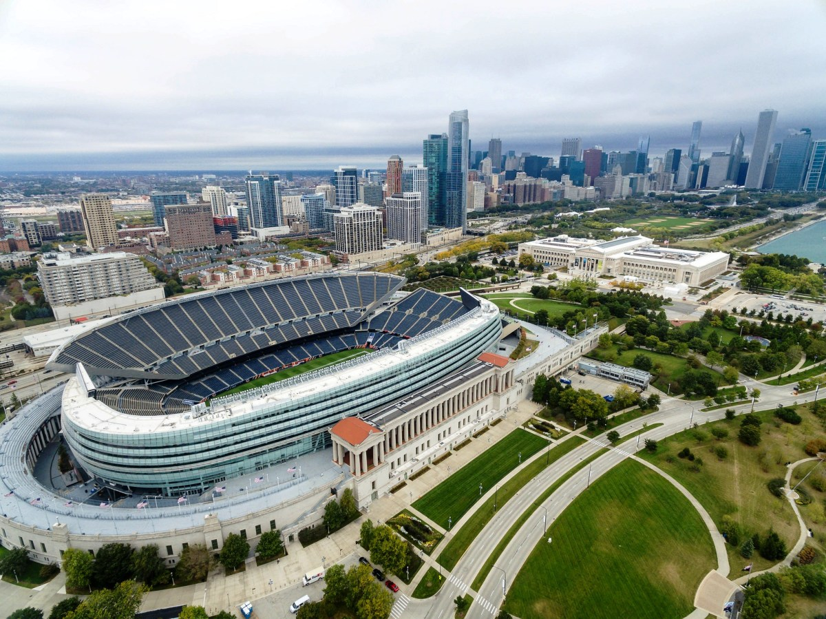 Soldier Field from the air looking towards the Field Museum and downtown Chicago