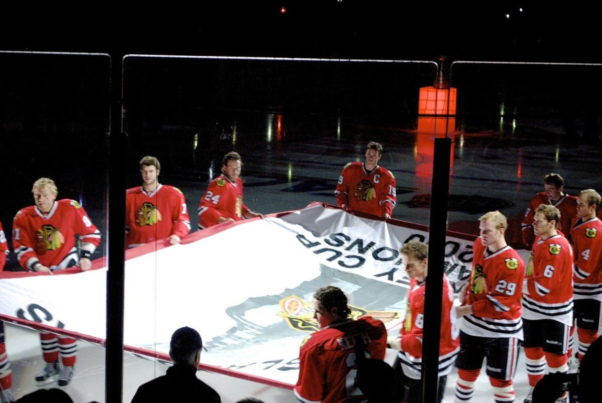 Blackhawks preparing to hoist the Stanley Cup  banner at the start of the 2010-2011 season at the United Center in Chicago, Illinois