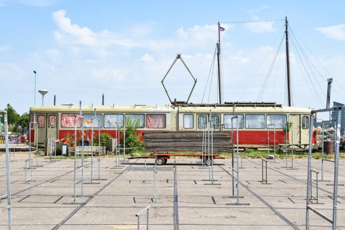 One of the many cool features of the NDSM Wharf is this old tram that has been given a new life!