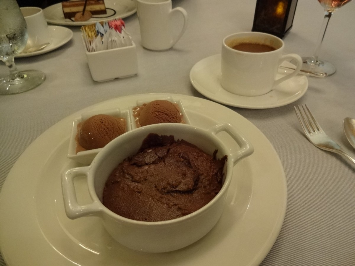 The molten lava cake with a side of ice cream is a meal in itself.