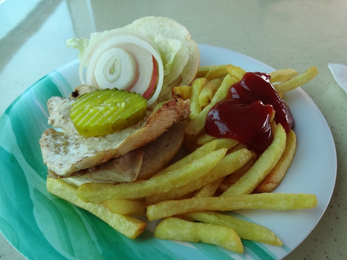 Poolside snacks included this freshly prepared grilled-chicken sandwich with French fries.