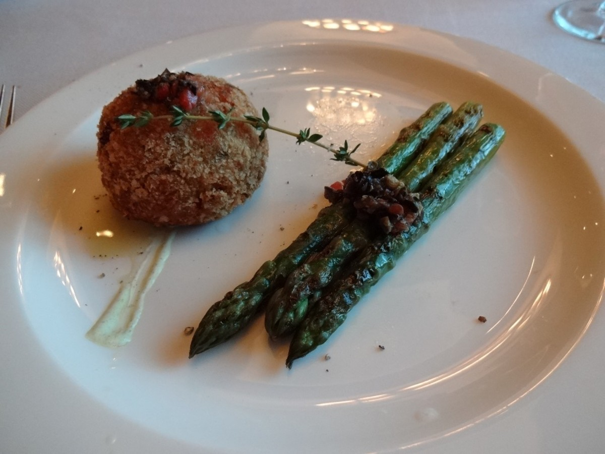 Lobster cake and asparagus appetizer at the Crown Grill. Amazing!