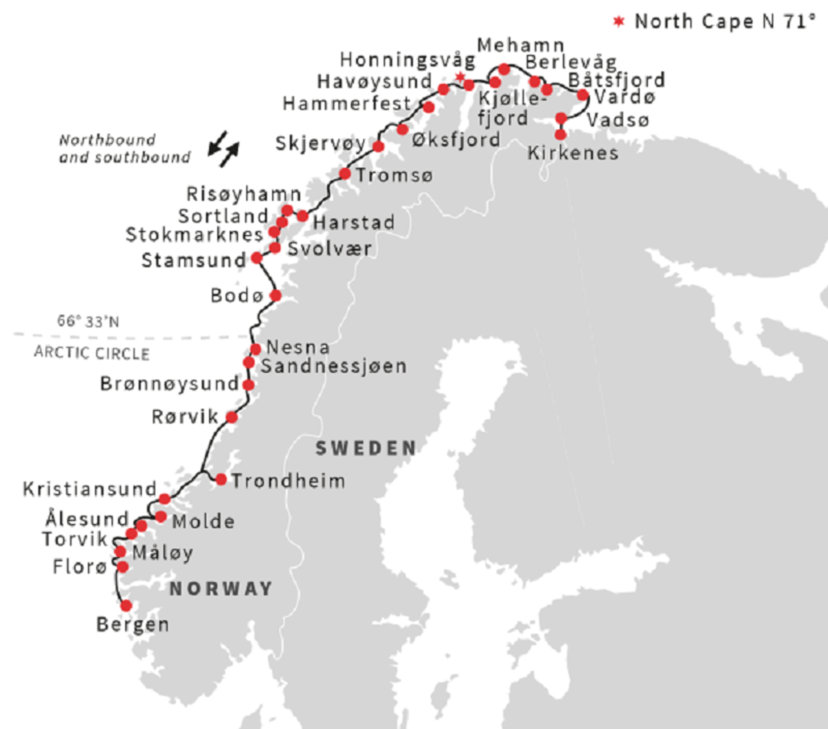 North and southbound stops on the Hurtigruten Norwegian coastal ferry.