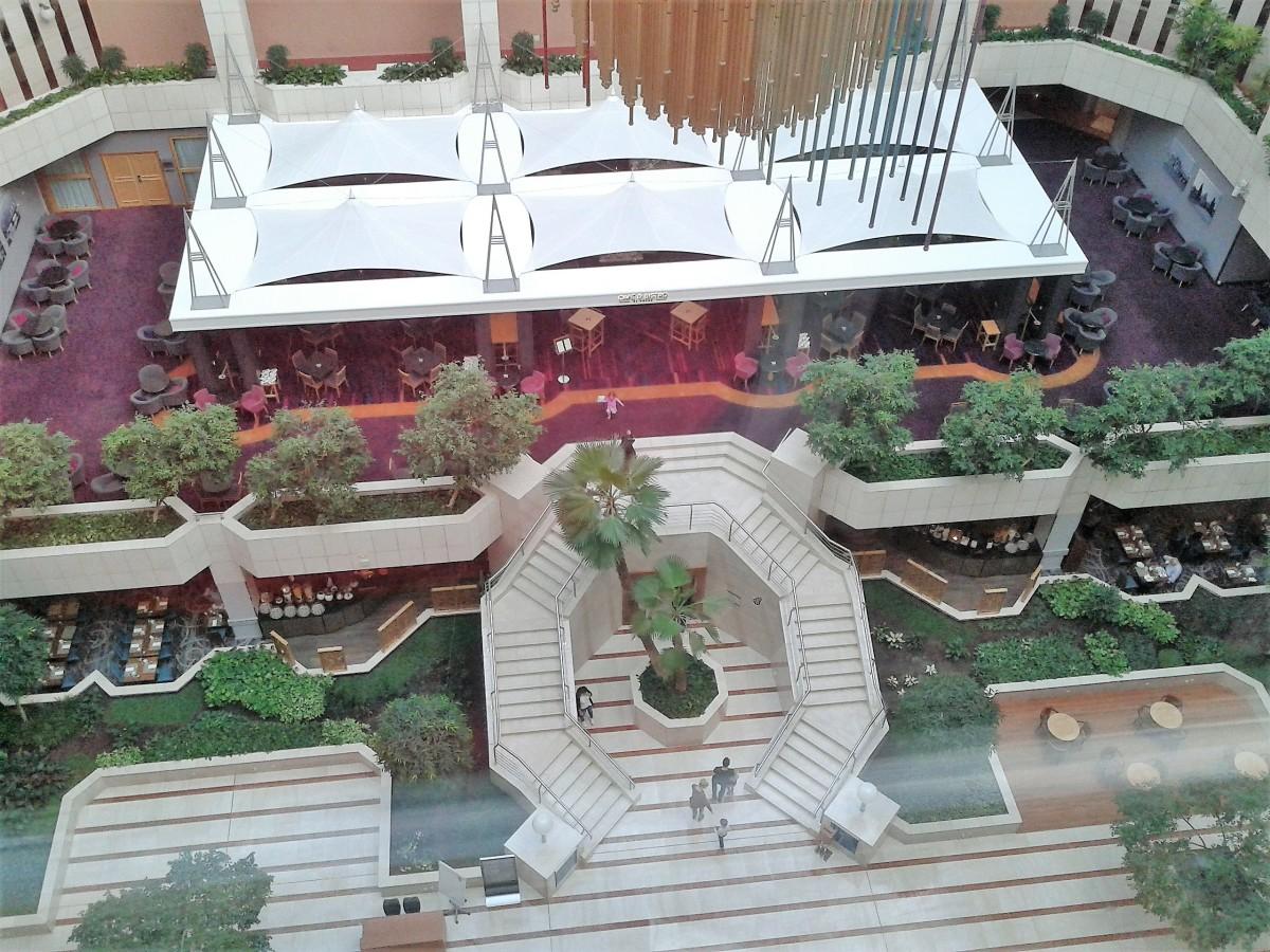 The atrium below the executive lounge.