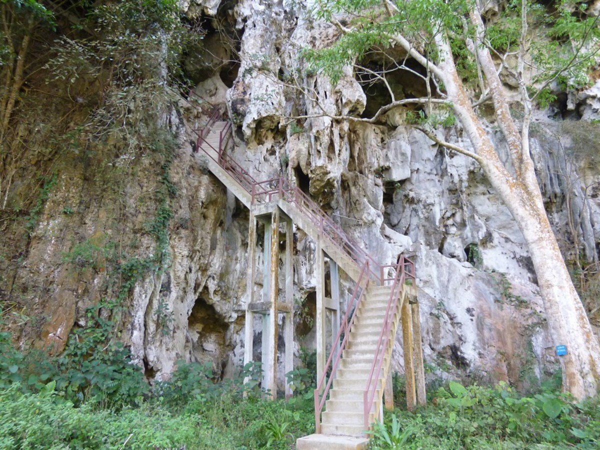 Stairway to one of the caves with easy access.