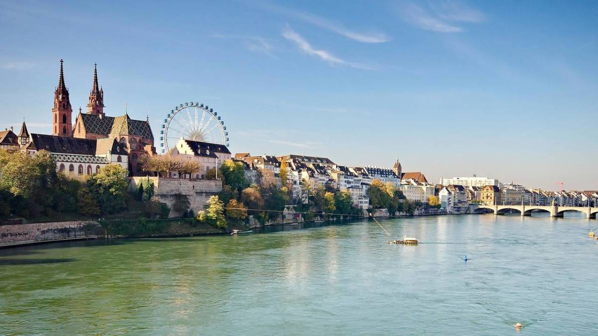 A View of the Rhine That Runs Through Basel During Herbstmesse (Autumn Fair)