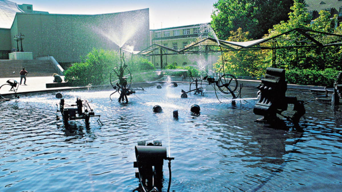 The Tinguely Fountain Made by the Same Artists as the Artwork in the Tinguely Museum