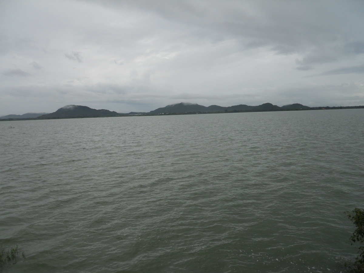 Vast expanse of water in Kolavai Lake
