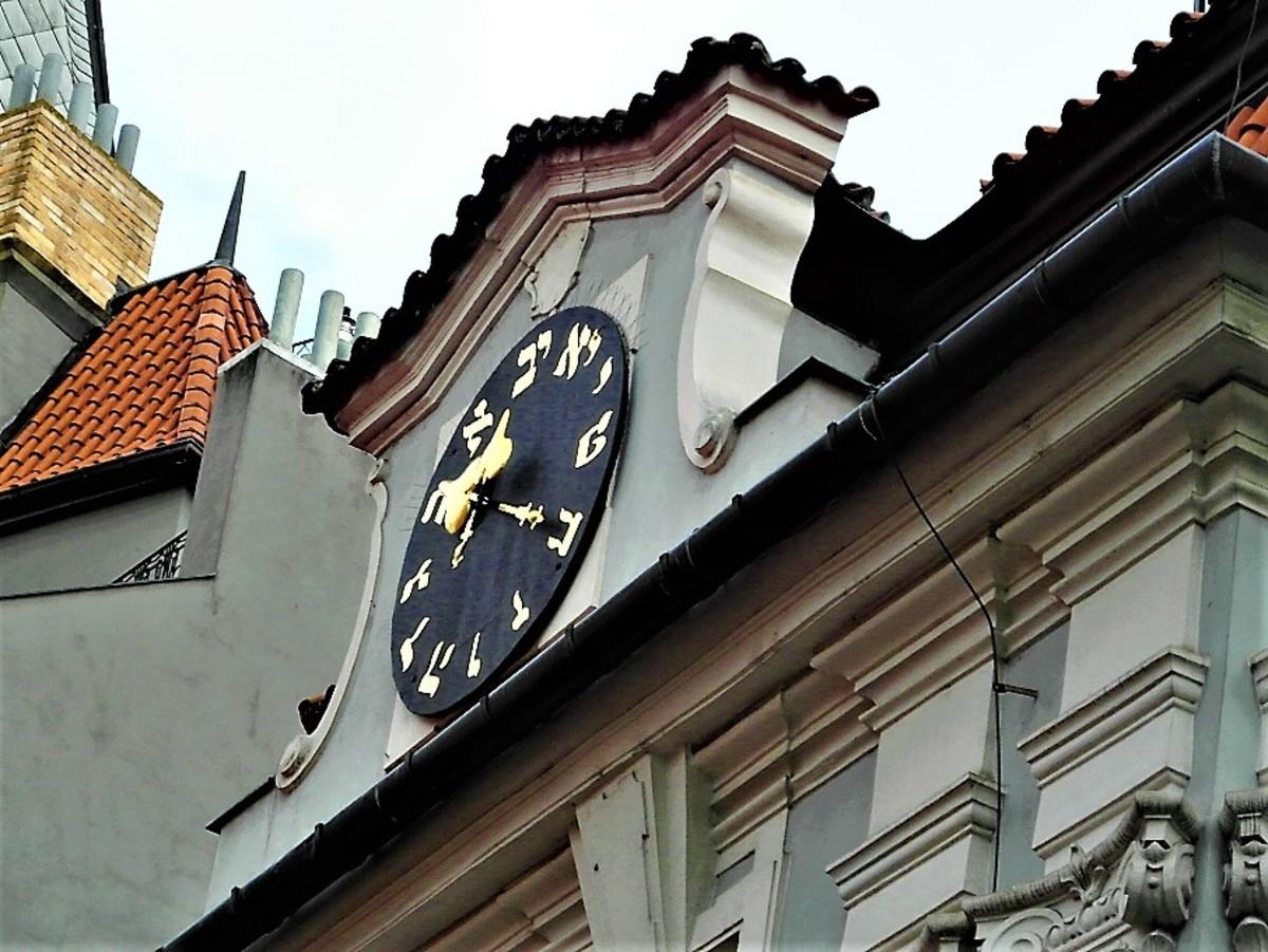 Hebrew clock on the Jewish Town Hall.