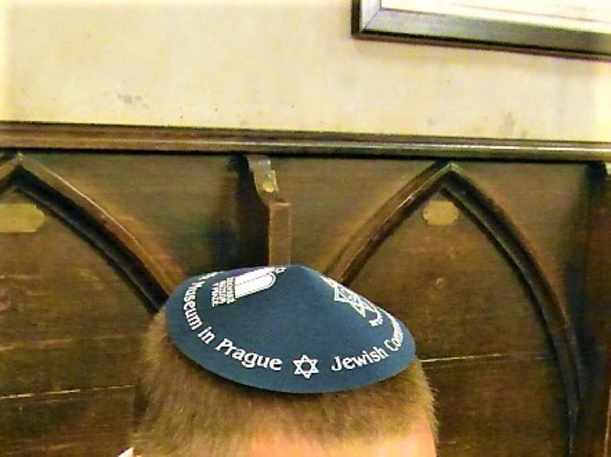 Skull cap supplied to male vistors.