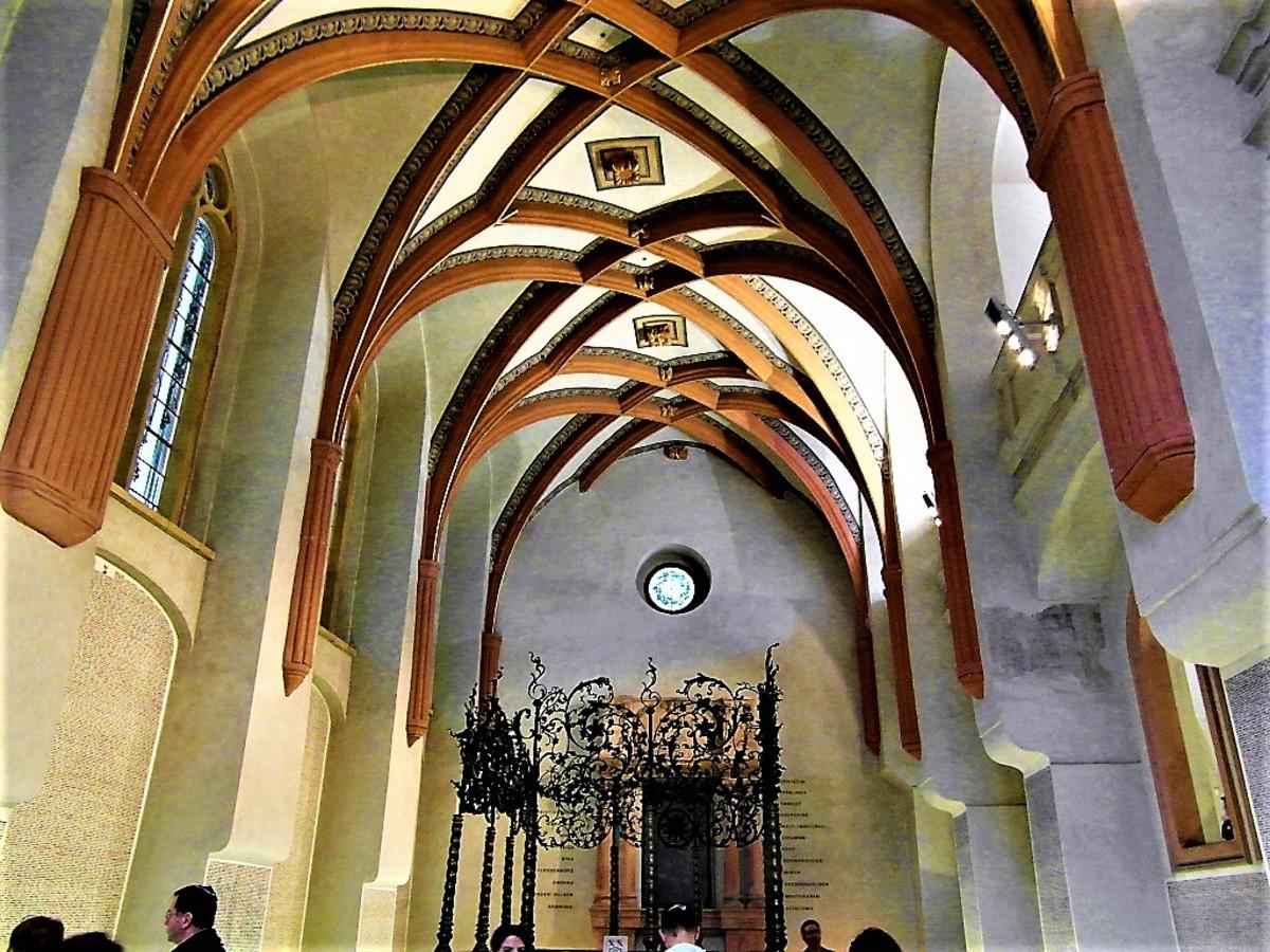 Inside the Pinkas Synagogue, Prague.