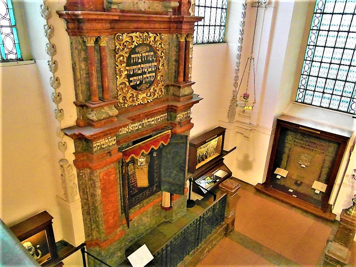 Looking down on the Torah Ark.