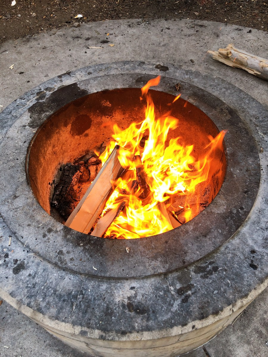 The fire that my husband started up in the fire ring.