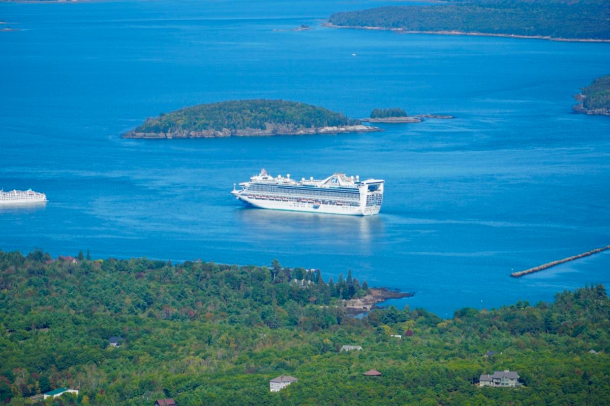 Cruise Ship anchored at Bar Harbor