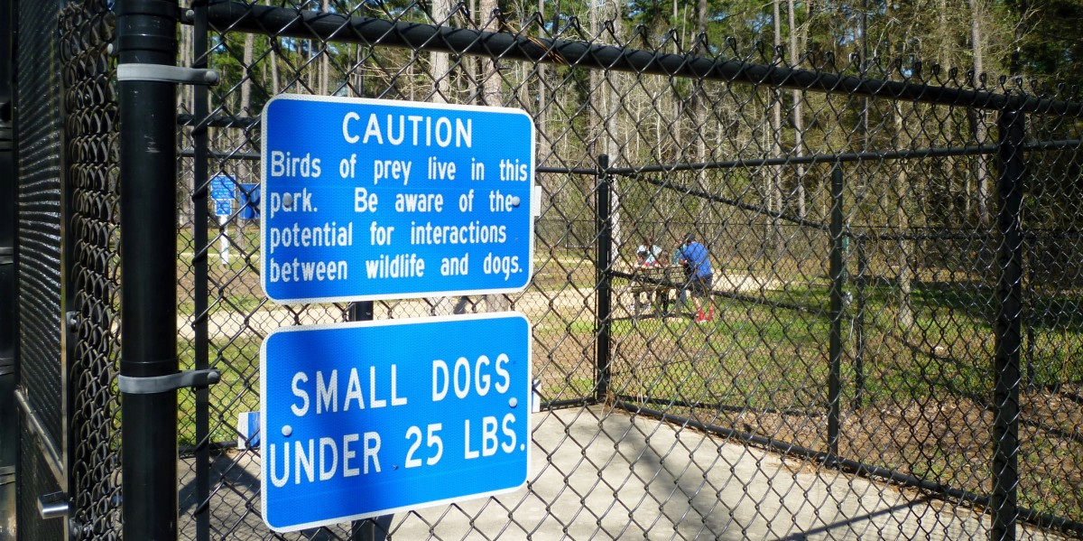 Warning sign in the small dog park area