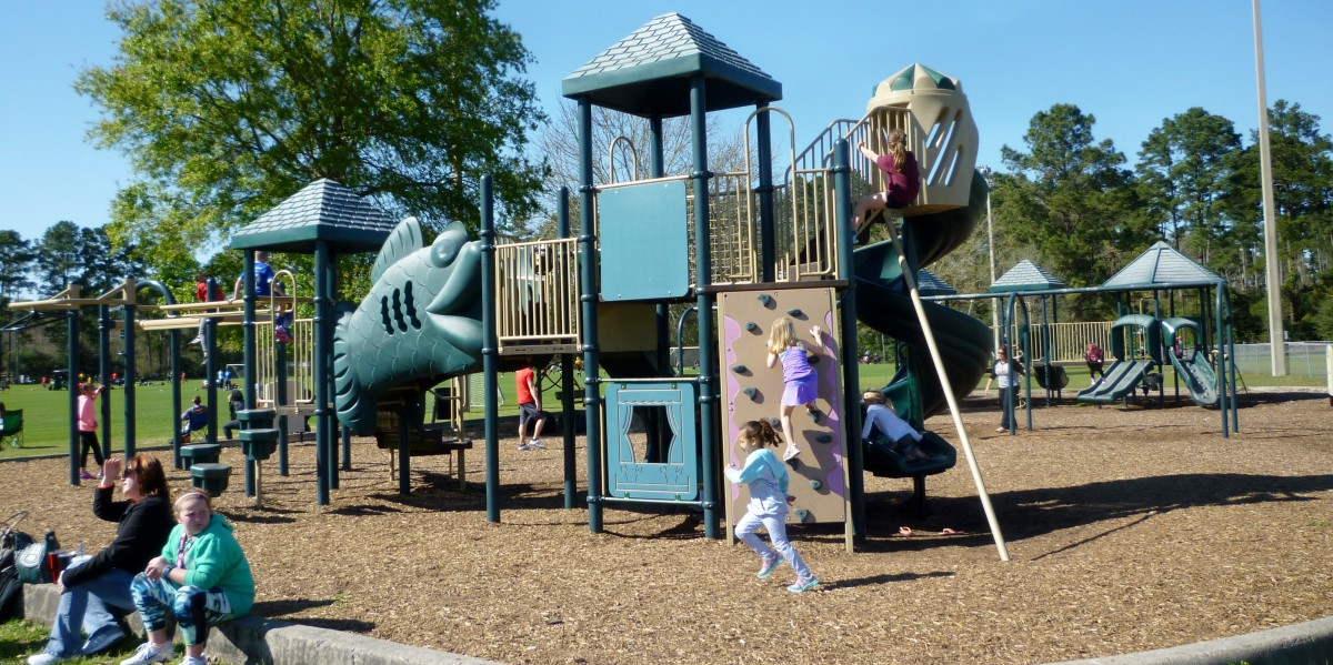 The playground near sports fields in Burroughs Park