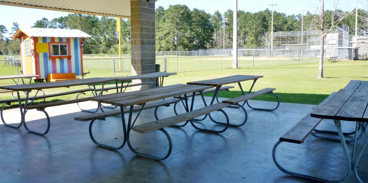 Covered pavilion near girls softball fields