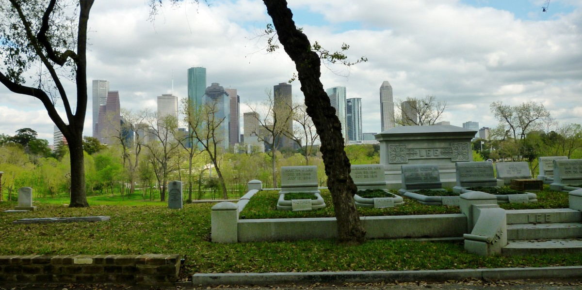 View of downtown Houston from Glenwood Cemetery