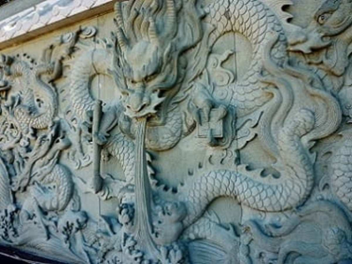 Closeup of carved stone wall
