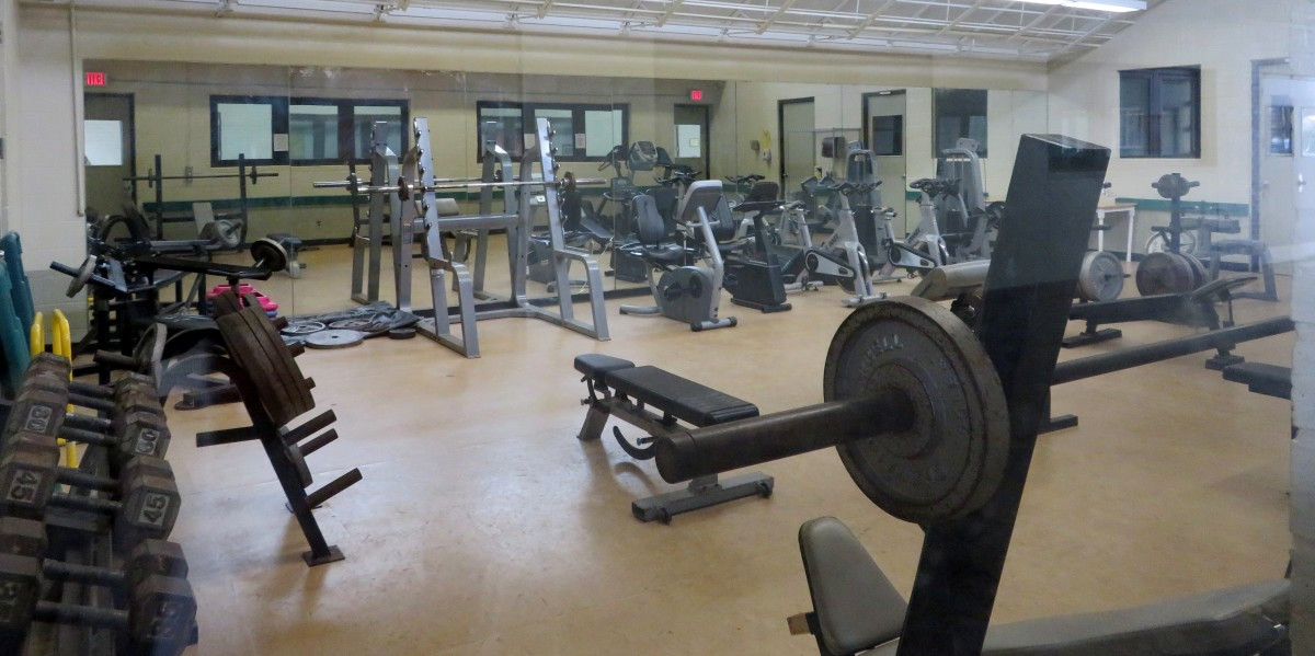 Gym equipment inside the community center building at Shady Lane Park