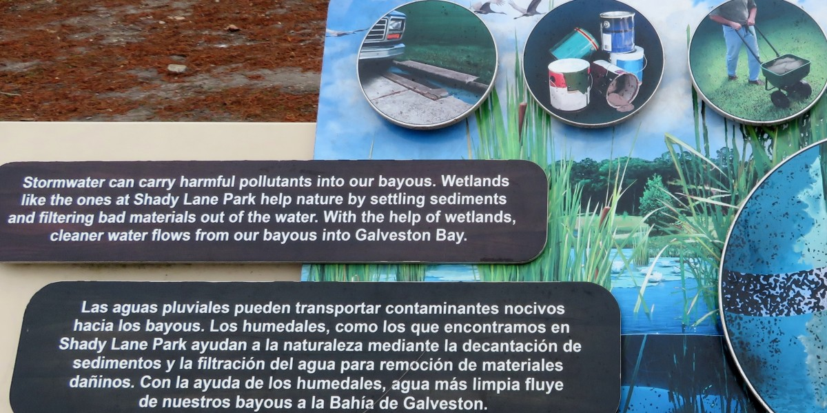"""Signs posted along the """"waterway"""" path"""