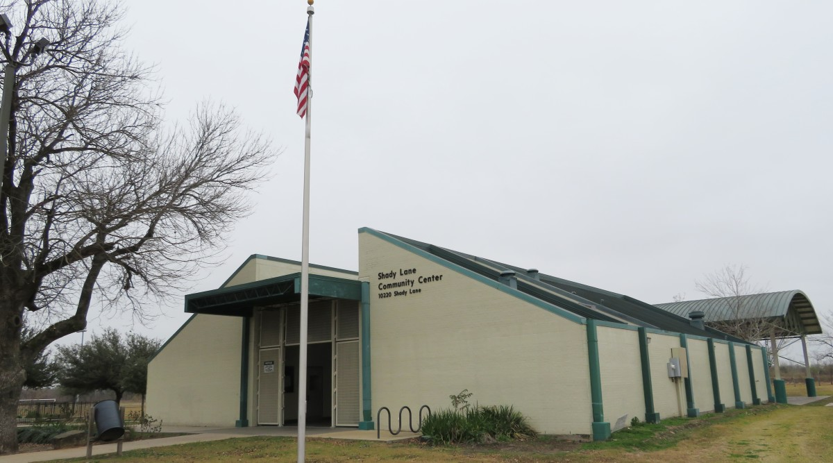 The exterior of the Community Center at Shady Lane Park.