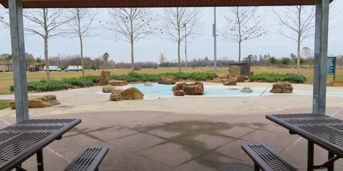 View of a sprayground water feature at Shady Lane Park