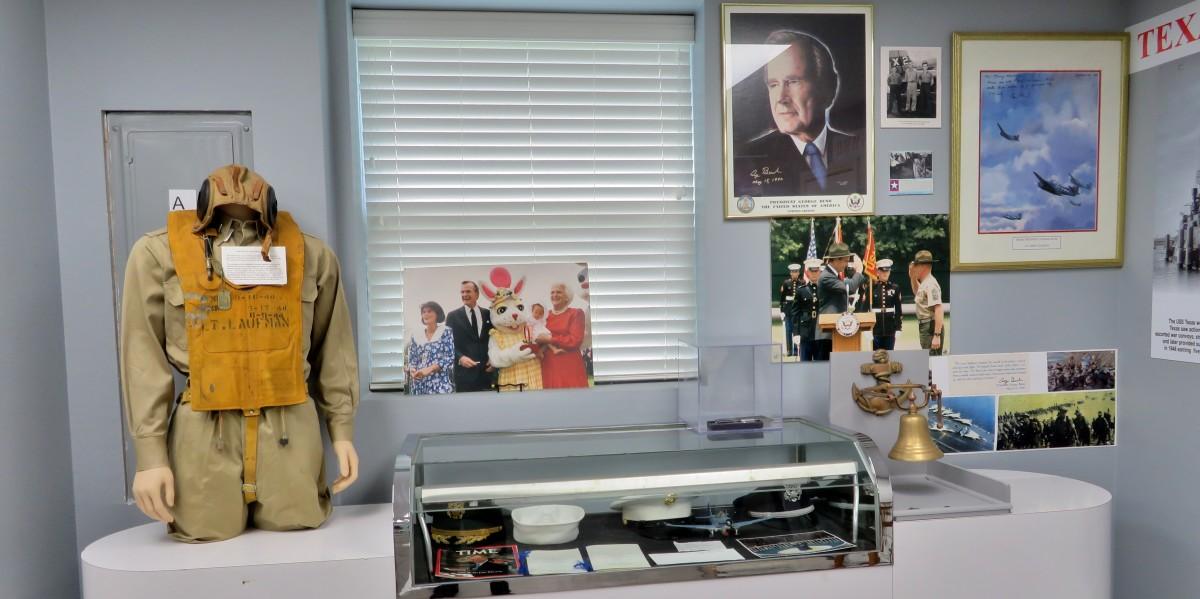 Photos of President George H.W. Bush plus a Mae West Life Preserver