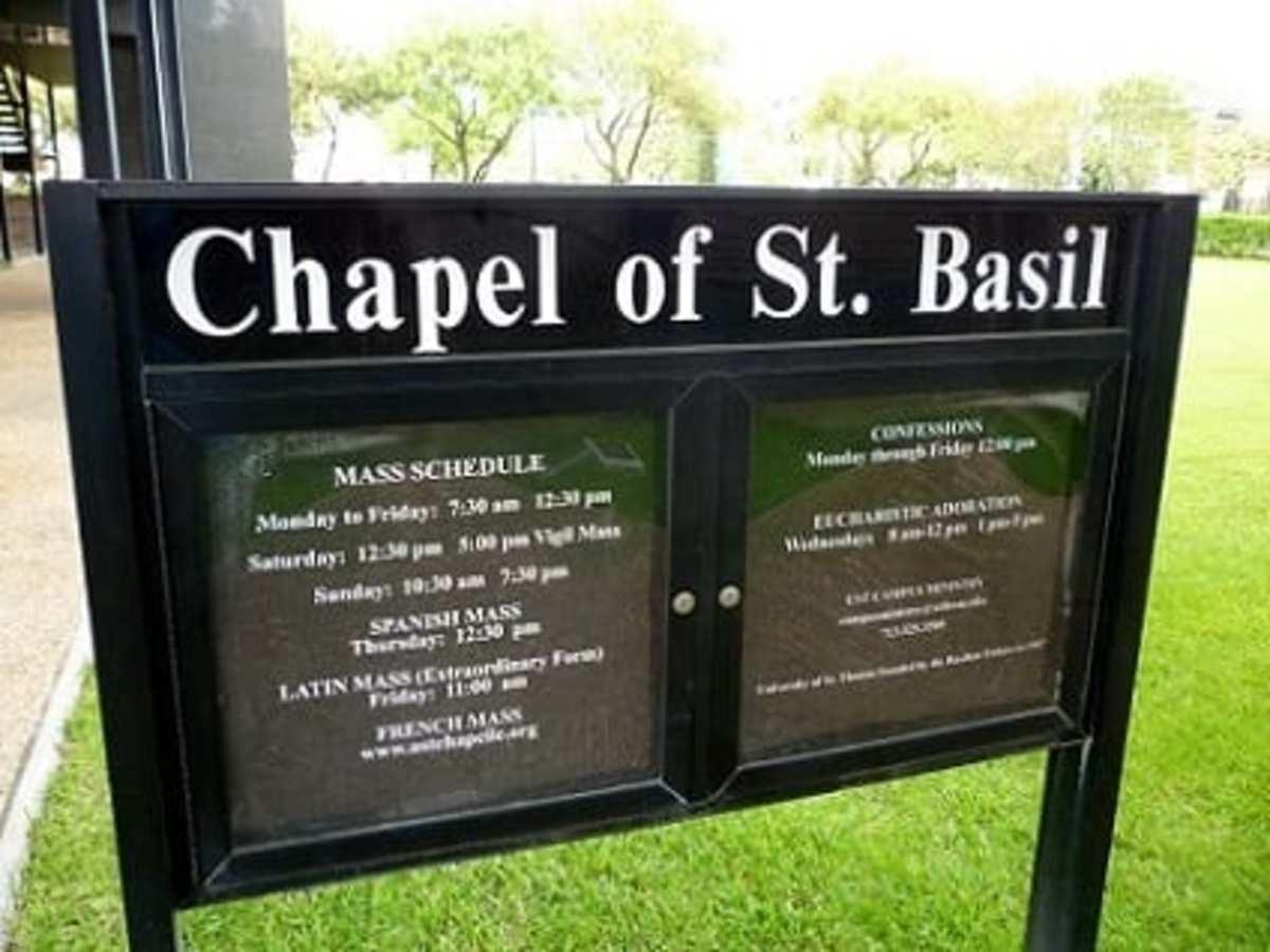 Mass schedule at Chapel of St. Basil